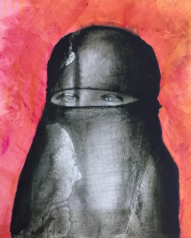 Niqab. #photography #colour #hijab #burka #collageart #trumpprotest #portraitphotography #portraits #drawings #artwork #artforsale