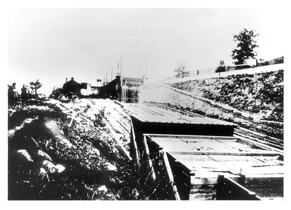 Photo of the incline plain in operation. C&O Canal National Historical Park photo