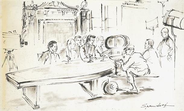 Don Murray, Henry Fonda, and Otto Preminger in the Senate Caucus Room
