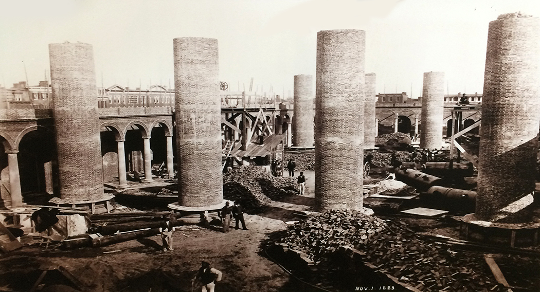 PENSION BUILDING UNDER CONSTRUCTION IN 1883. NATIONAL ARCHIVES PHOTO