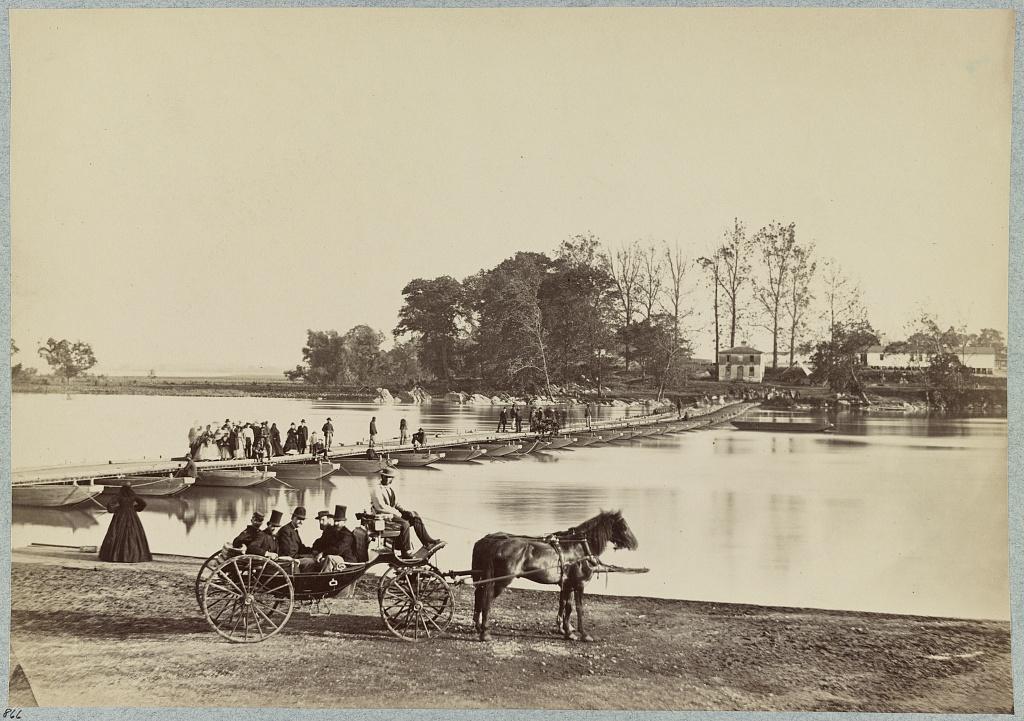 Pontoon bridge to THE ISLAND in 1865.  Matthew Brady  photo