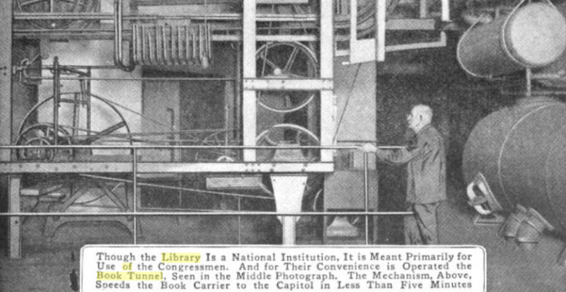 bOOK CONVEYING APPARATUS AT THE JEFFERSON BUILDING. SCIENTIFIC AMERICAN PHOTO