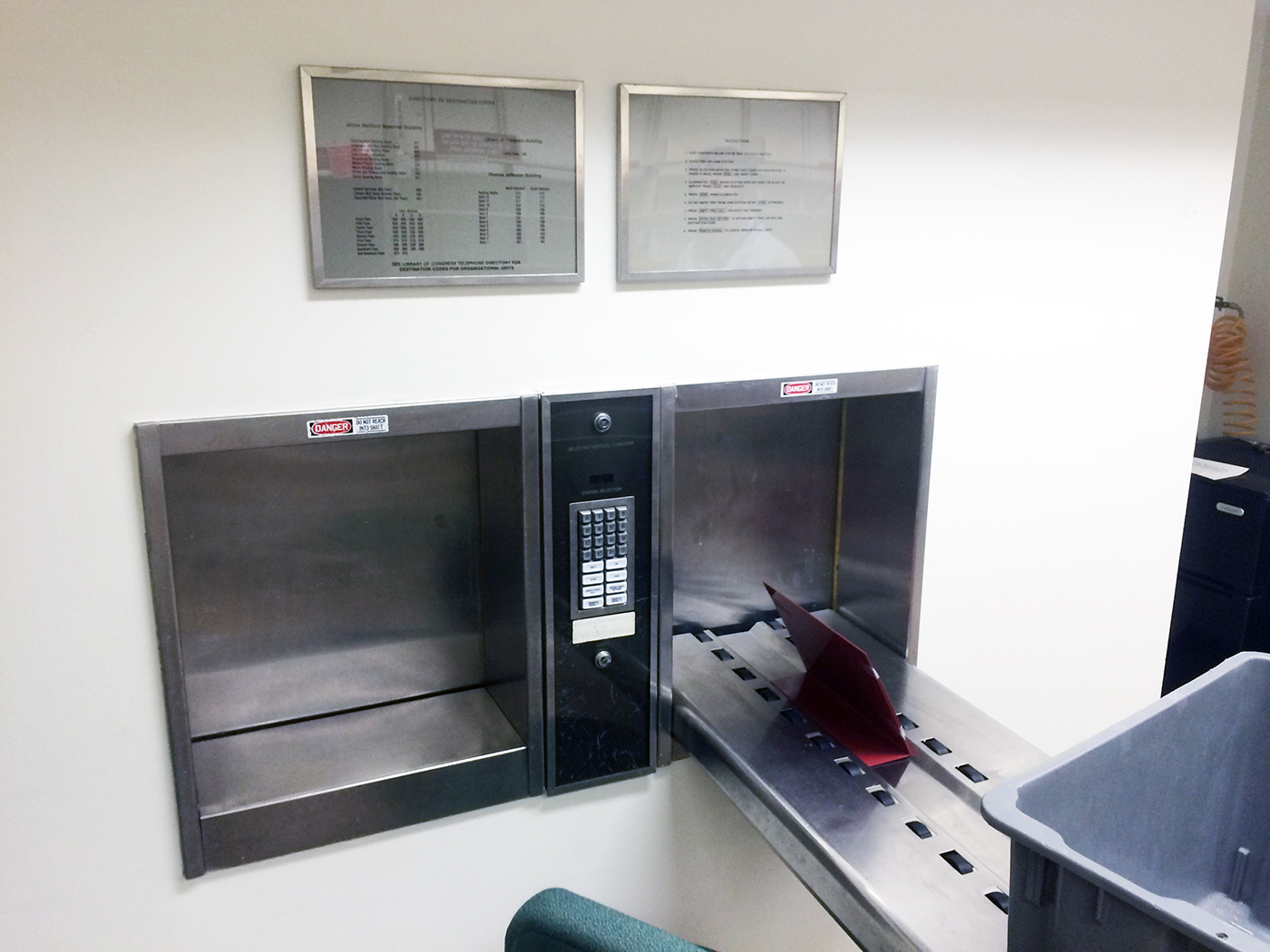 RECIEVING STATION IN THE MADISON BUILDING. ELLIOT CARTER PHOTO