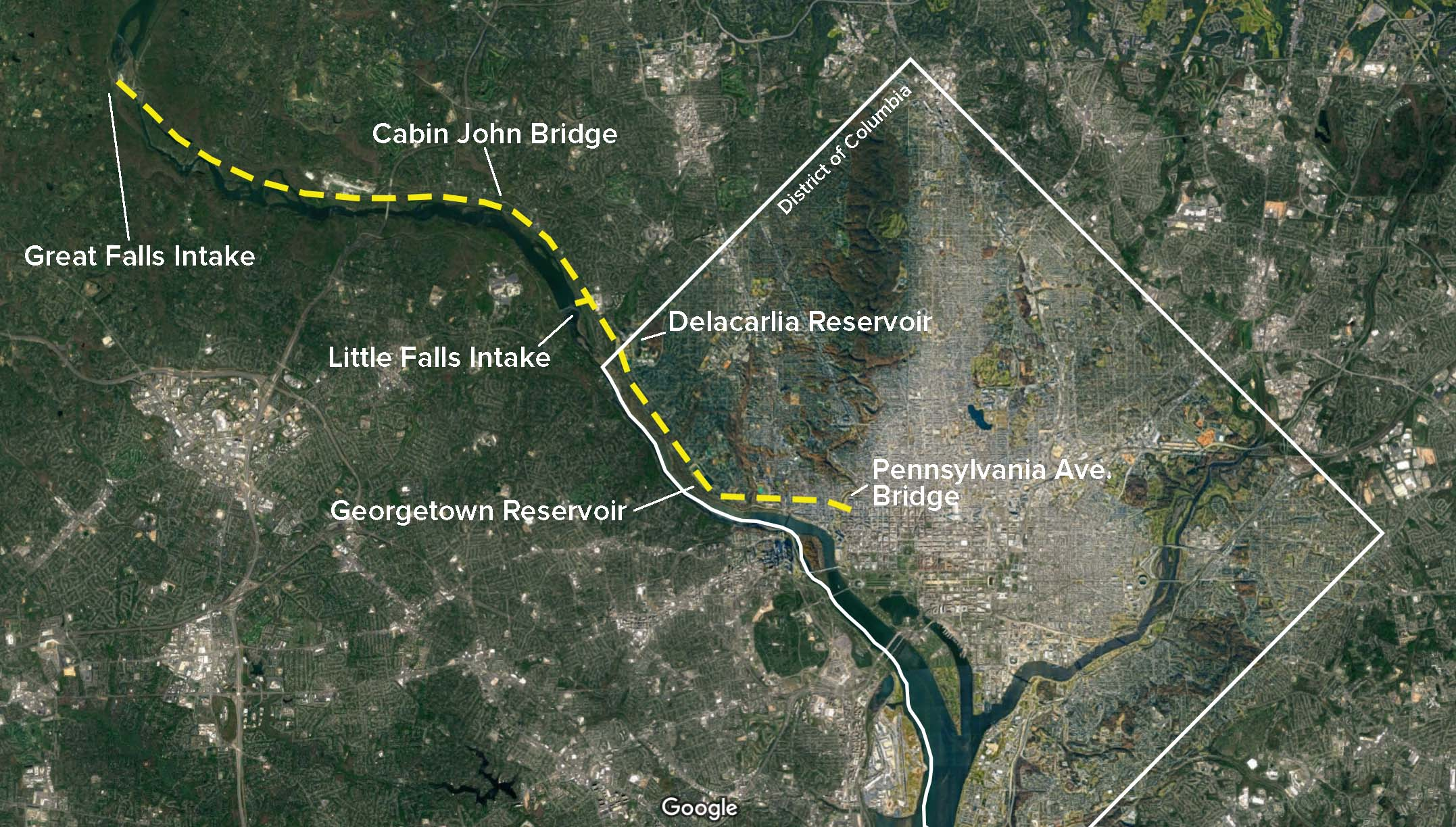 Tracing the route of the Washington Aqueduct. Google Earth image