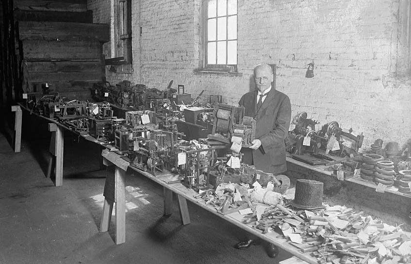 The Patent Commissioner with old models. Library of Congress image