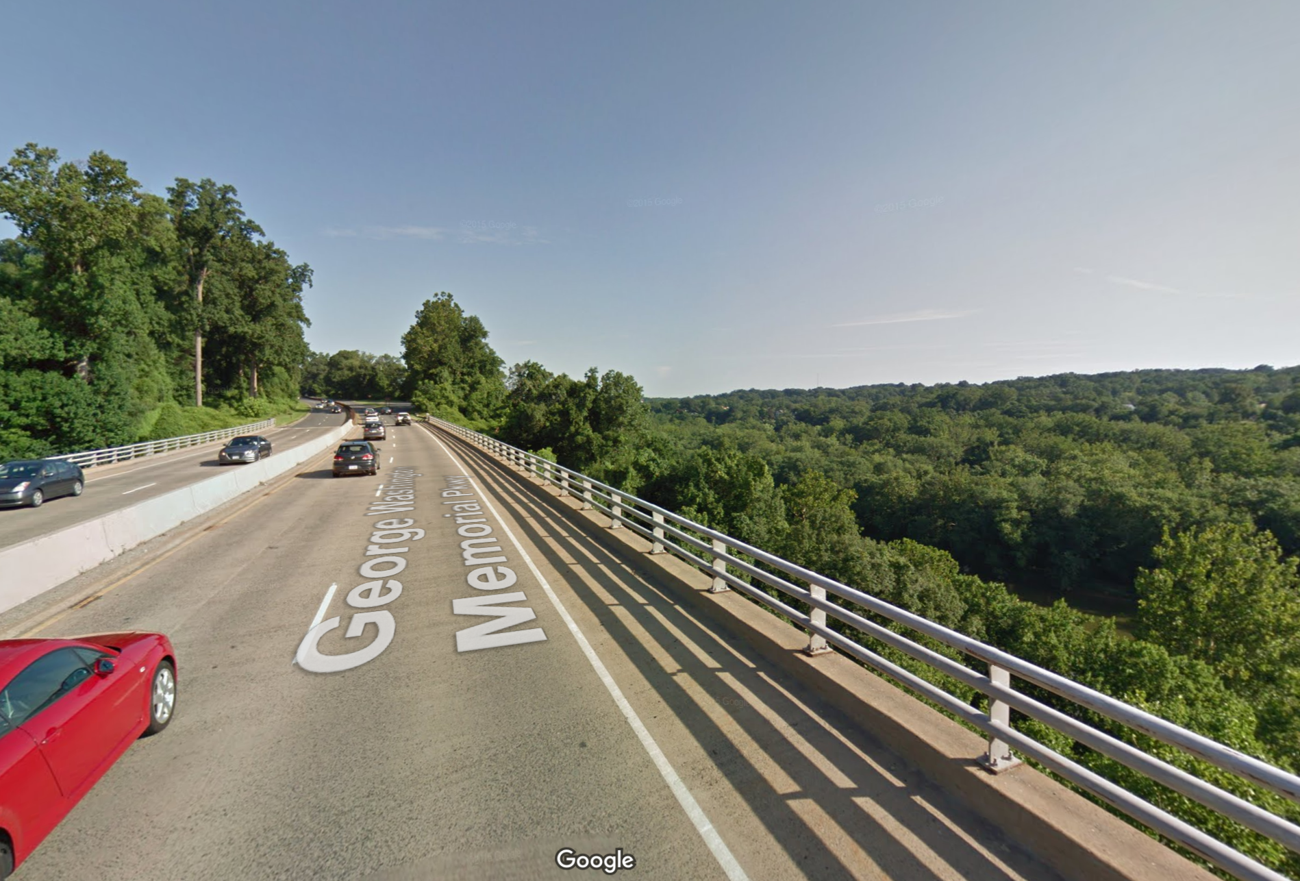 View from Virginia looking out over the Potomac Palisades. Google Streetview