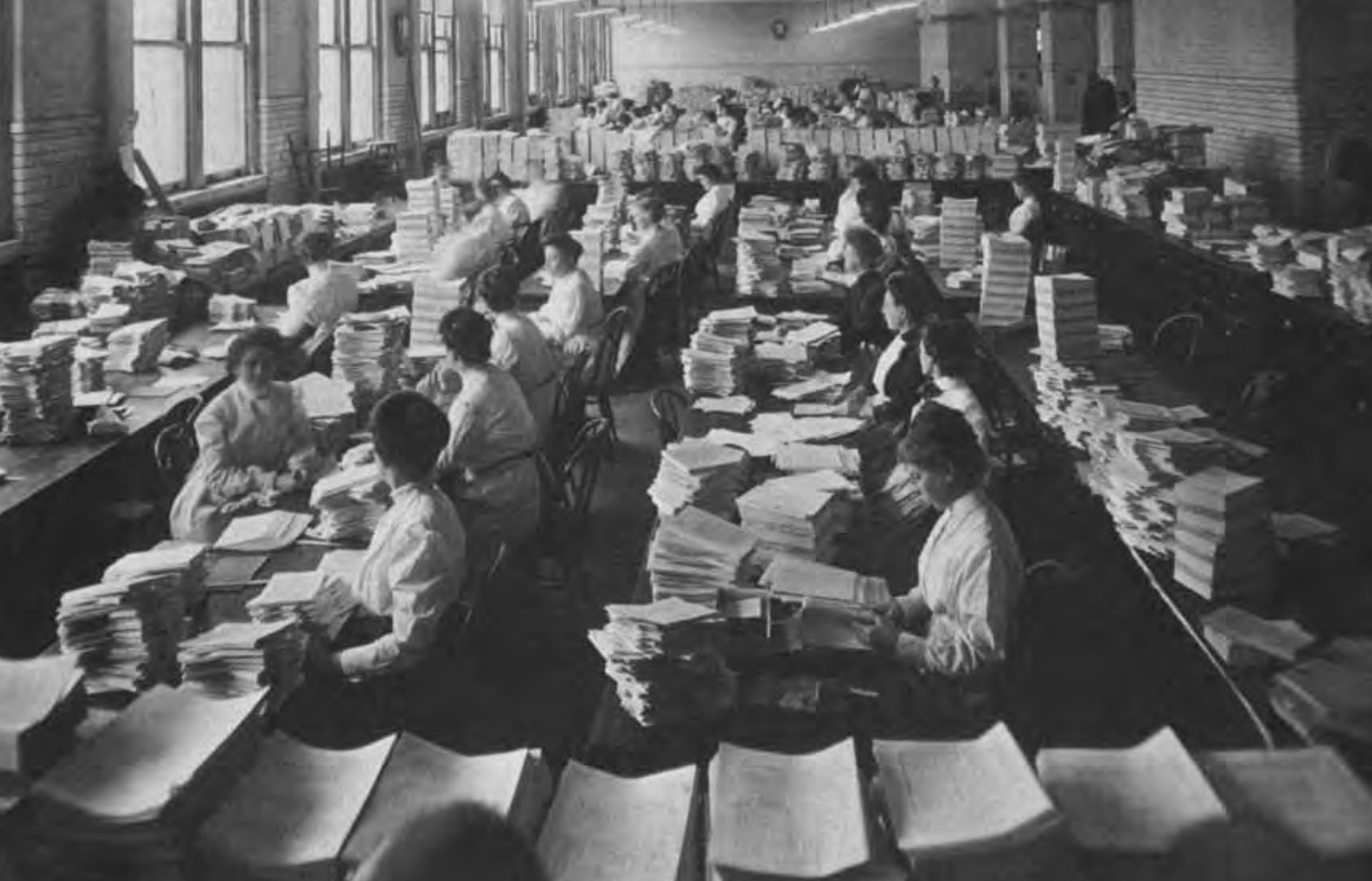 GPO bindery circa 1910. GPO image