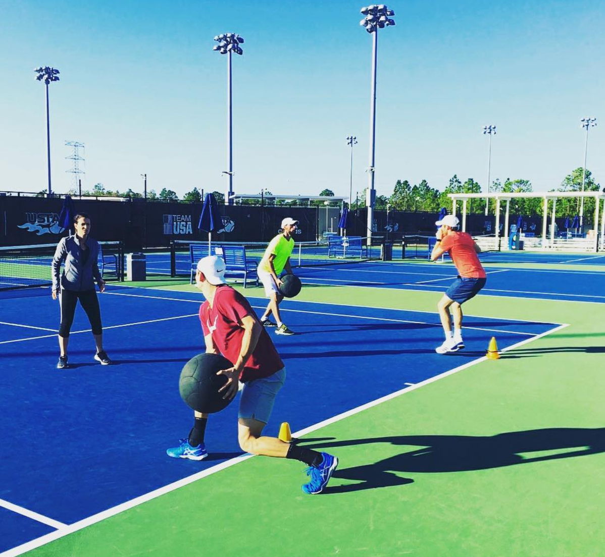 Working on footwork drills with Bjorn and coaches Gabe and Jen -