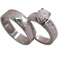 Custom white Gold Band & Diamond Engagement Ring