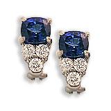Platinum, Saphire and Diamond Earrings