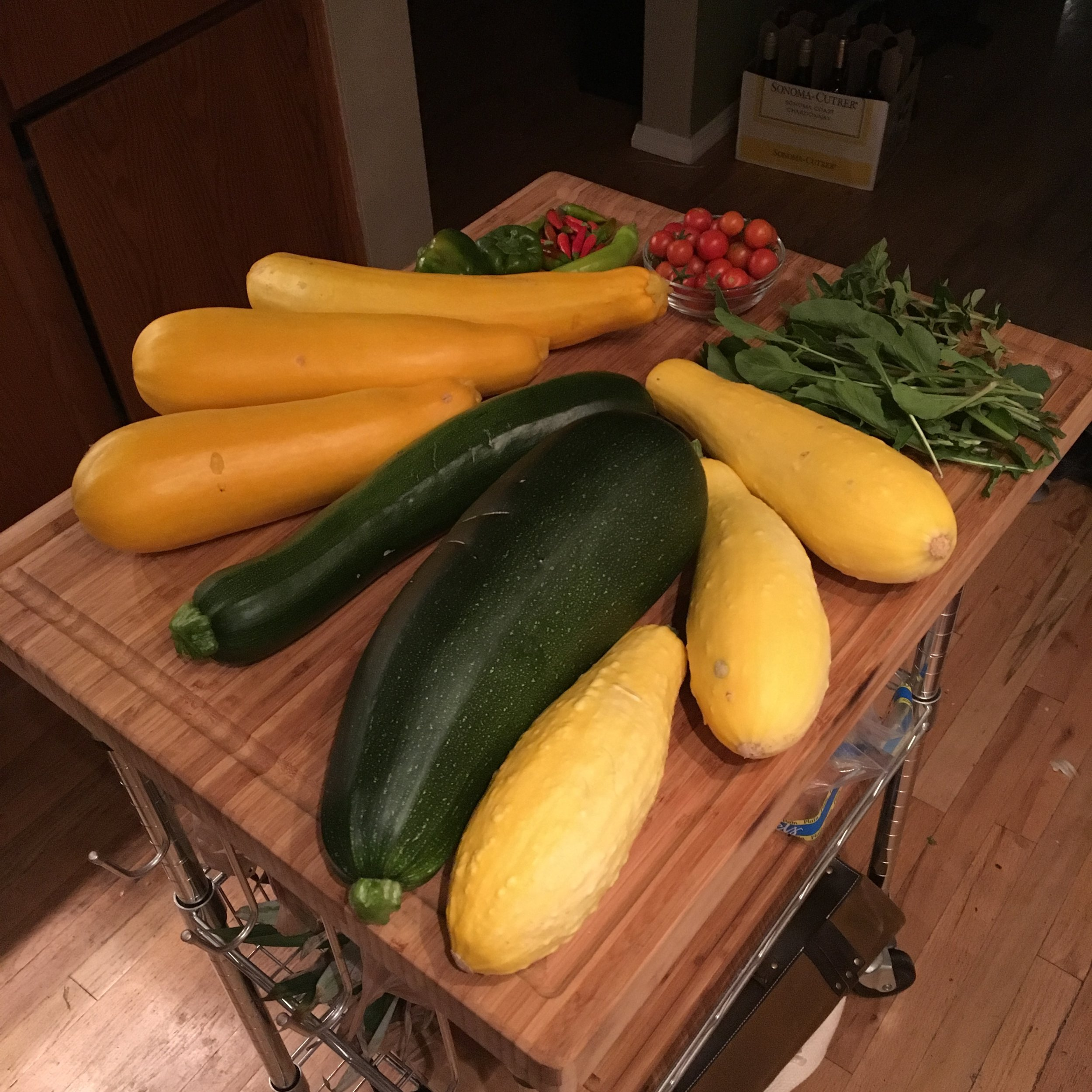 This size harvest happened on the regular, almost every week in August we had this much squash!