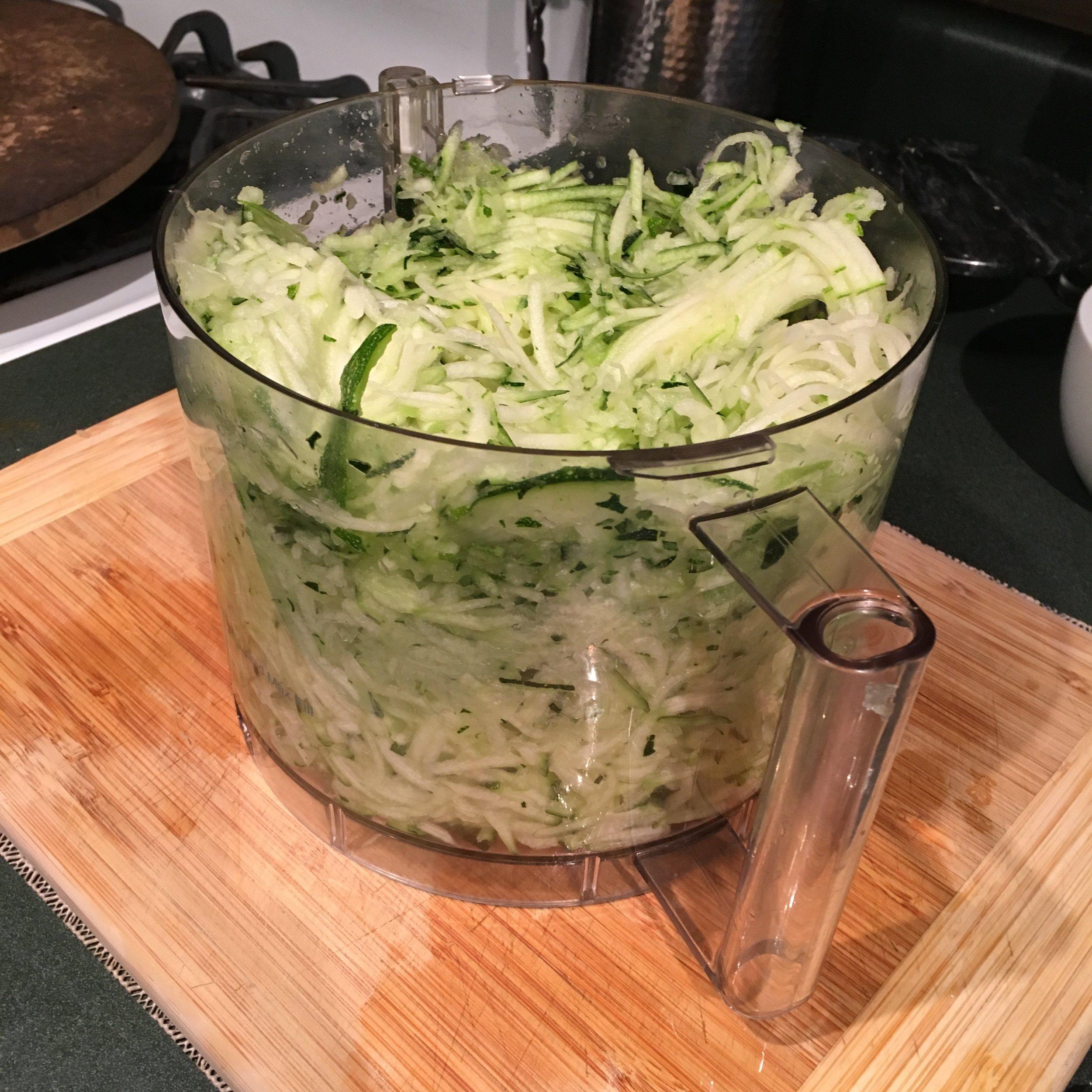 Zucchini grated using the Cuisinart attachment