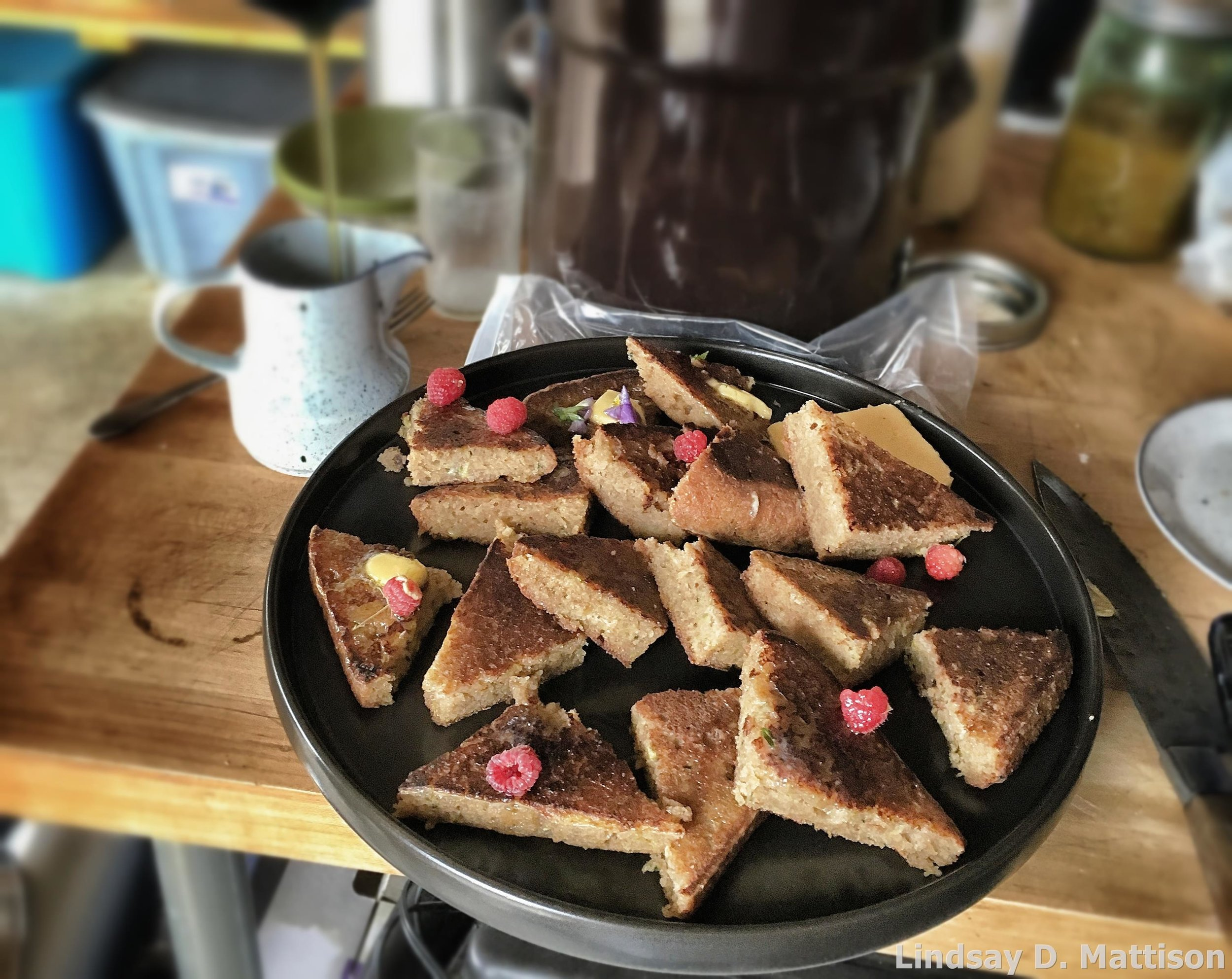 Zucchini bread French toast, cut family-style for a brunch party