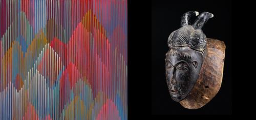Links  Astrid Schröder, 5:6:014, 2014, aus einem Triptychon mit je 80 x 50 cm, Acryl auf Leinwand   Recht Dr. Karl-Ferdinand Schaedler,Gesichtsmaske KPAN, Baule (Elfenbeinküste), Höhe ca. 34cm, Holz