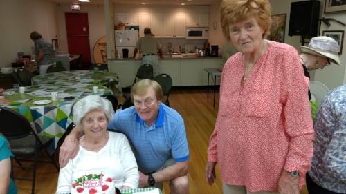 September 2016 - Doreen Galligan and Dermot O'Neil sharing their birthday cake