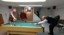 Aidan, Ken giving directions to Dermot, our President for the best pool shot! Dermot Gorman in background.