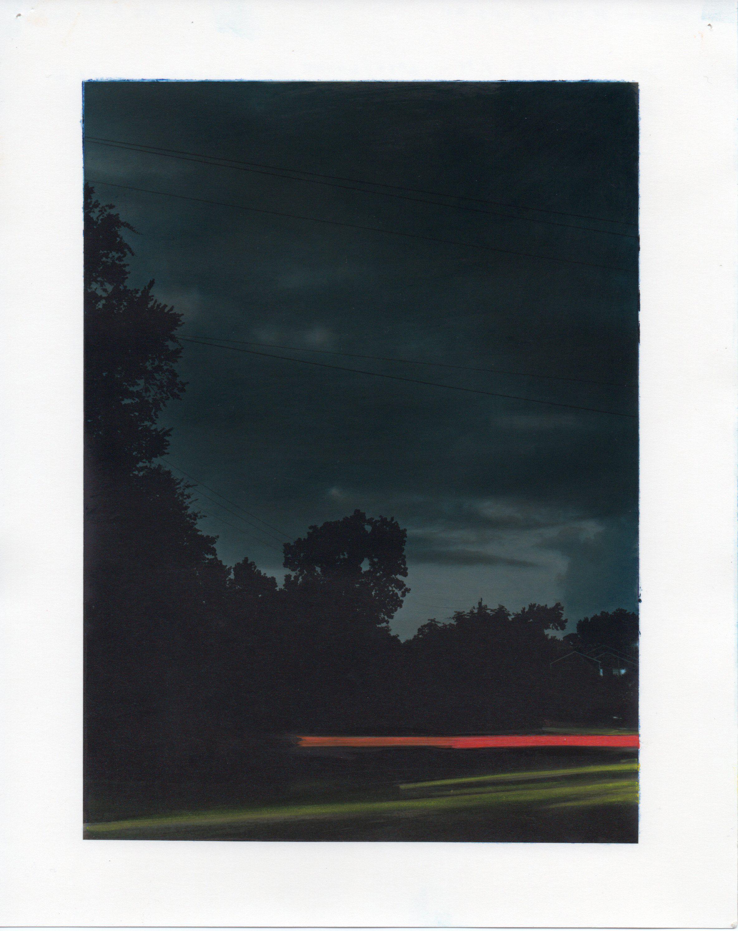 "9-18-13, P.M.  55"" X 42"" Oil on silver gelatin print 2013"