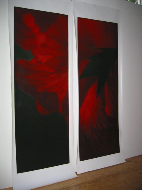 "8-24-06,P.M.#3  98"" X 38"" (each) Oil on silver gelatin 2006"