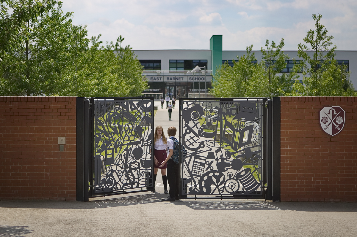 East Barnet Secondary School Gates by Lara Sparey,  pedestrian gates forming the entrance to the new school building