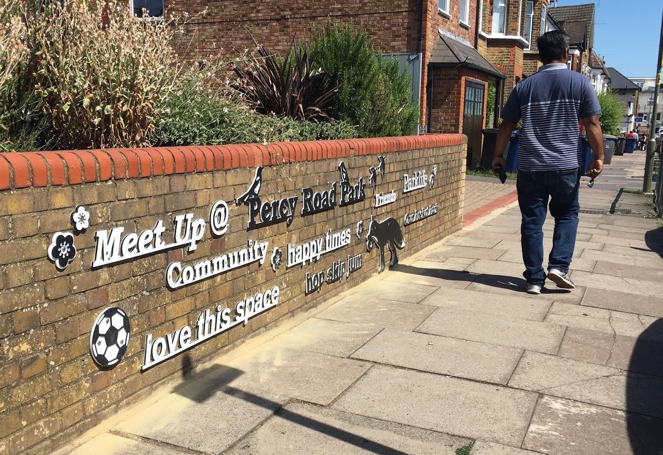 Percy Road Park artwork, by Lara Sparey. Exterior wall.