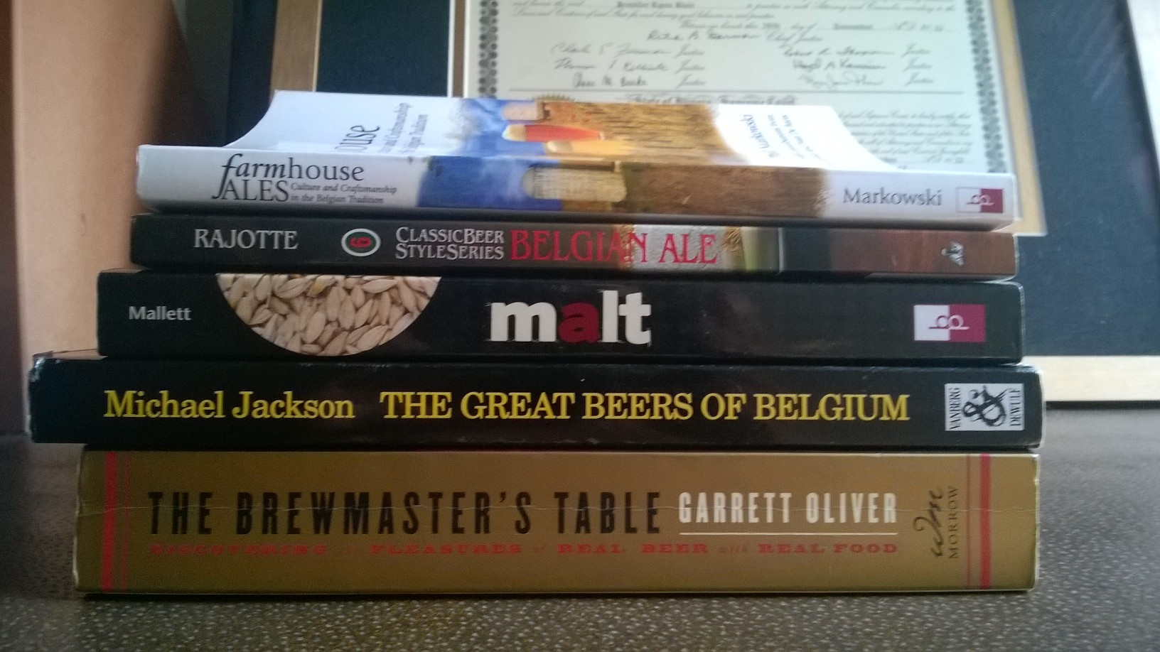 The two other books I read that are not pictured are  Lambic  and  Brew Like a Monk , which I read on my tablet.