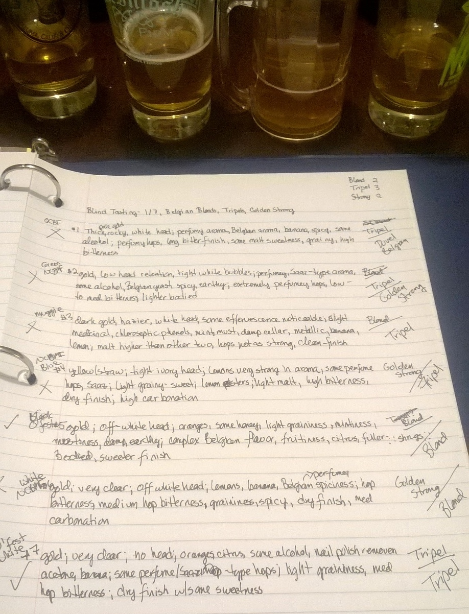 """As the tasting of high gravity beers moves along, my notes become less technical and more descriptive, as my """"Tripel? Blond ::shrugs::"""" margin notes demonstrate"""