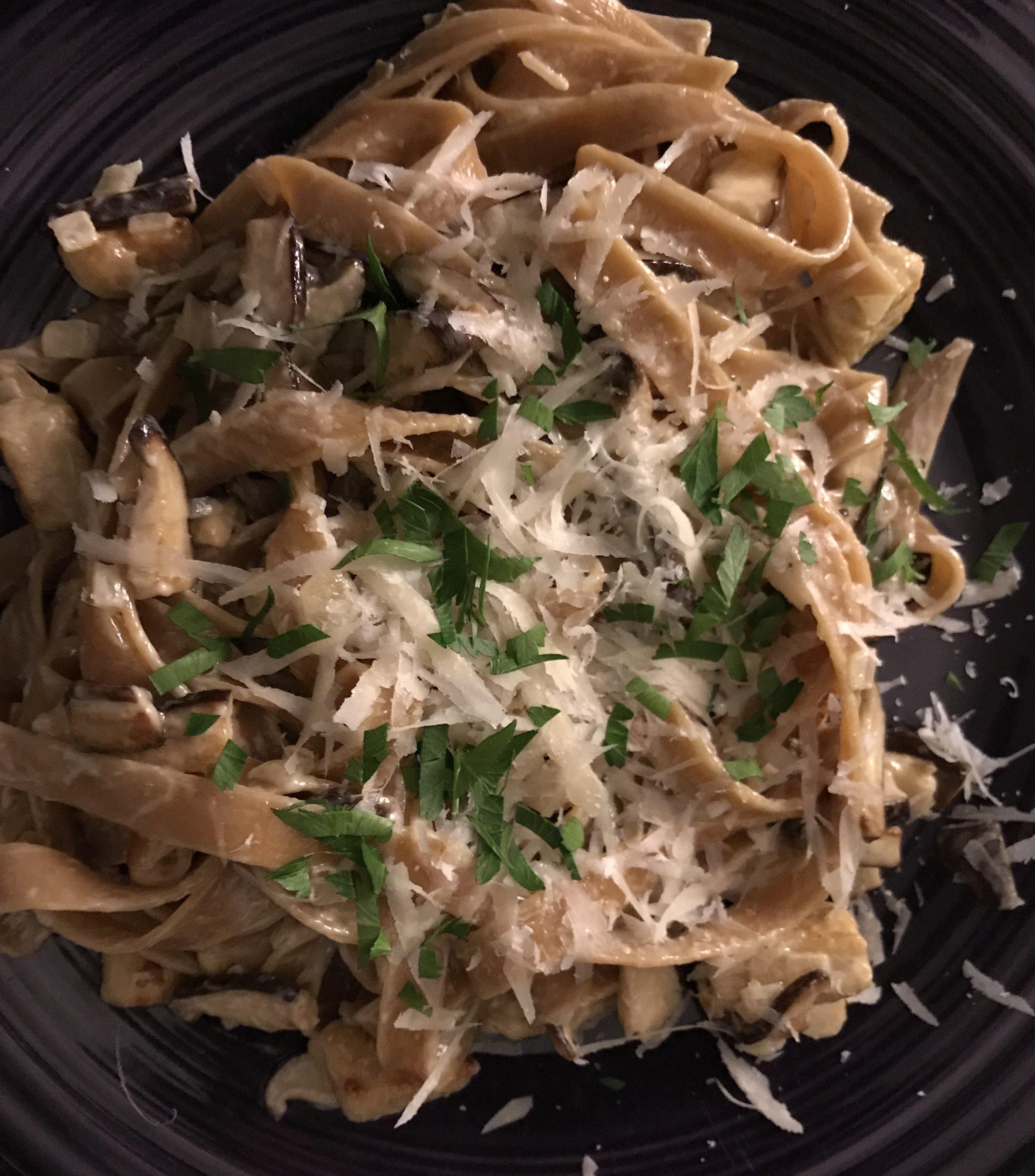 Porcini Linguine - with Shiitake Mushrooms & Gorgonzola Sauce(Also I am not a talented food photographer)