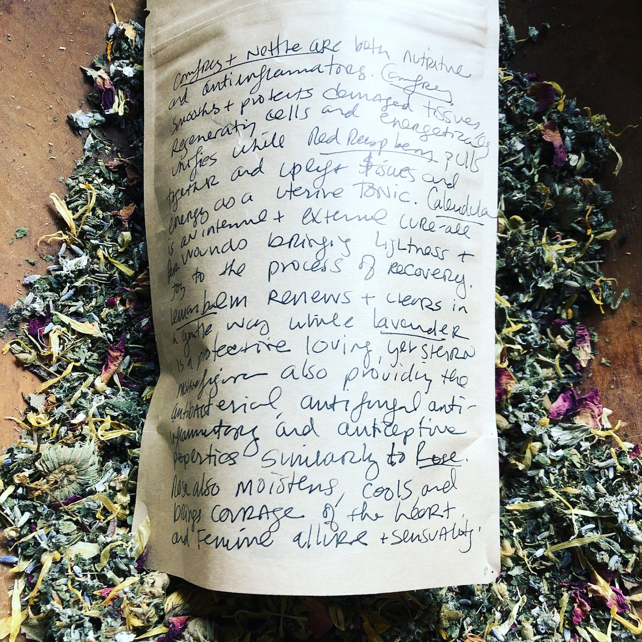 Womb Healing Sitz Bath-Yoni Steam - All Organic and sustainably harvested herbs were formulated by hand in my home apothecary in Brooklyn, NY and are now blended to order in our new home in Croton-on-Hudson, NY.This formula is charged with the mantra: I am beautiful, Blissful, and Bountiful; I am. Plant allies to support you, like a good friend hand and hand, in this blend include: Comfrey, Nettle, Red Raspberry leaf, Calendula, Lemon Balm, Lavender, and Rose buds and petals.Comfrey and nettle are both nutritive and anti-inflammatory. Comfrey soothes and protects damaged tissues, regenerates cells, and energetically unifies while Red Raspberry pulls together and uplifts tissues and energy as a uterine tonic. Calendula is an internal and external wound healer, bringing light to the process of recovery. Lemon Balm renews and clears in a gentle way, while the stern auntie energy and medicine of Lavender protects and loves with her stern antibacterial, anti-fungal, anti-inflammatory, and antiseptic properties similarly to Rose. Rose also helps to moisten and cool, while bringing courage to your heart and evoking feminine allure and sensuality.