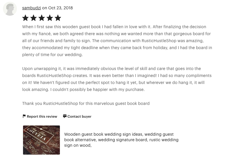 5 Star Etsy Seller Review for Rustic Hustle