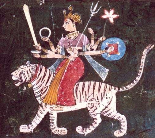 Durgā, Rājasthānī miniature of the Mewār school, mid-17th century; in a private collection.   Source: Pramod Chandra via  Encyclopædia Britannica