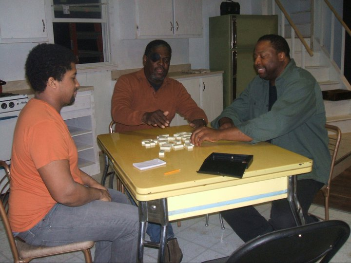 """Brokeology"" rehearsal with Monty Cole as Malcolm, Johnny Lee Davenport as William and David J. Curtis as Ennis"