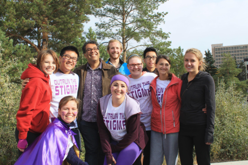 """Participants from the 1st annual run/walk event are stoked to """"Outrun the Stigma"""", along with City of Calgary Mayor Naheed Nenshi (top, third from left)."""