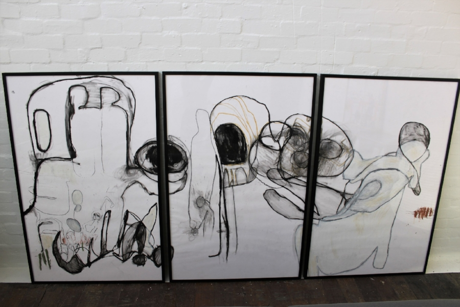 Amber Wallis A MEMORABLE DECLINE (Fear of Sleep) TRIPTYCH - Size: 146 x 295 CM (overall) - each panel 146 X 95 cmPencil, ink and oil pastel on paperPOAask@mondoartgallery.com