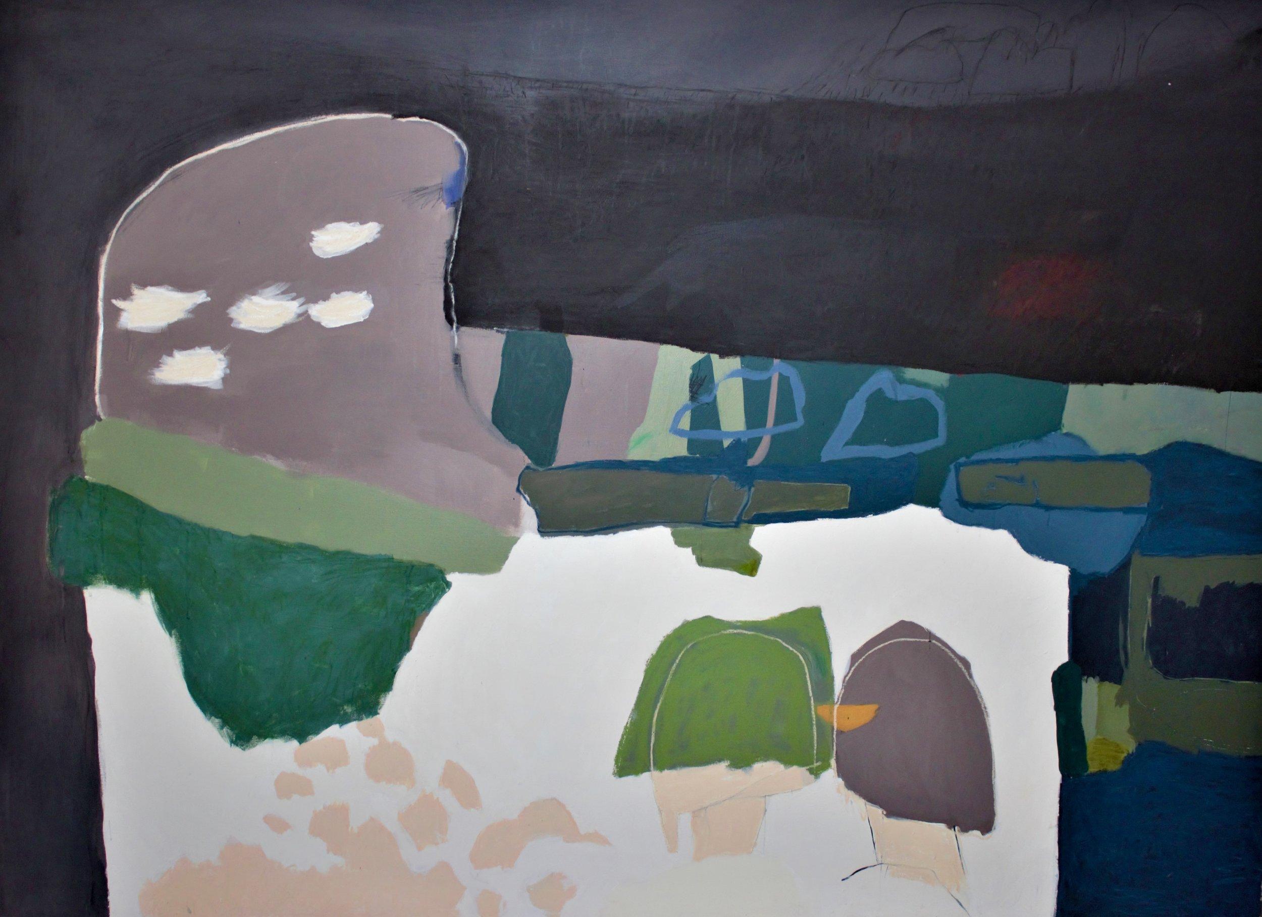 AMBER WALLIS UNTITLED (TWO PAINTINGS BEGINNING BATTLE) - Size: 205 X 150 CM (unframed)Acrylic, oil, oil pastel and pencil on linenPOAask@mondoartgallery.com