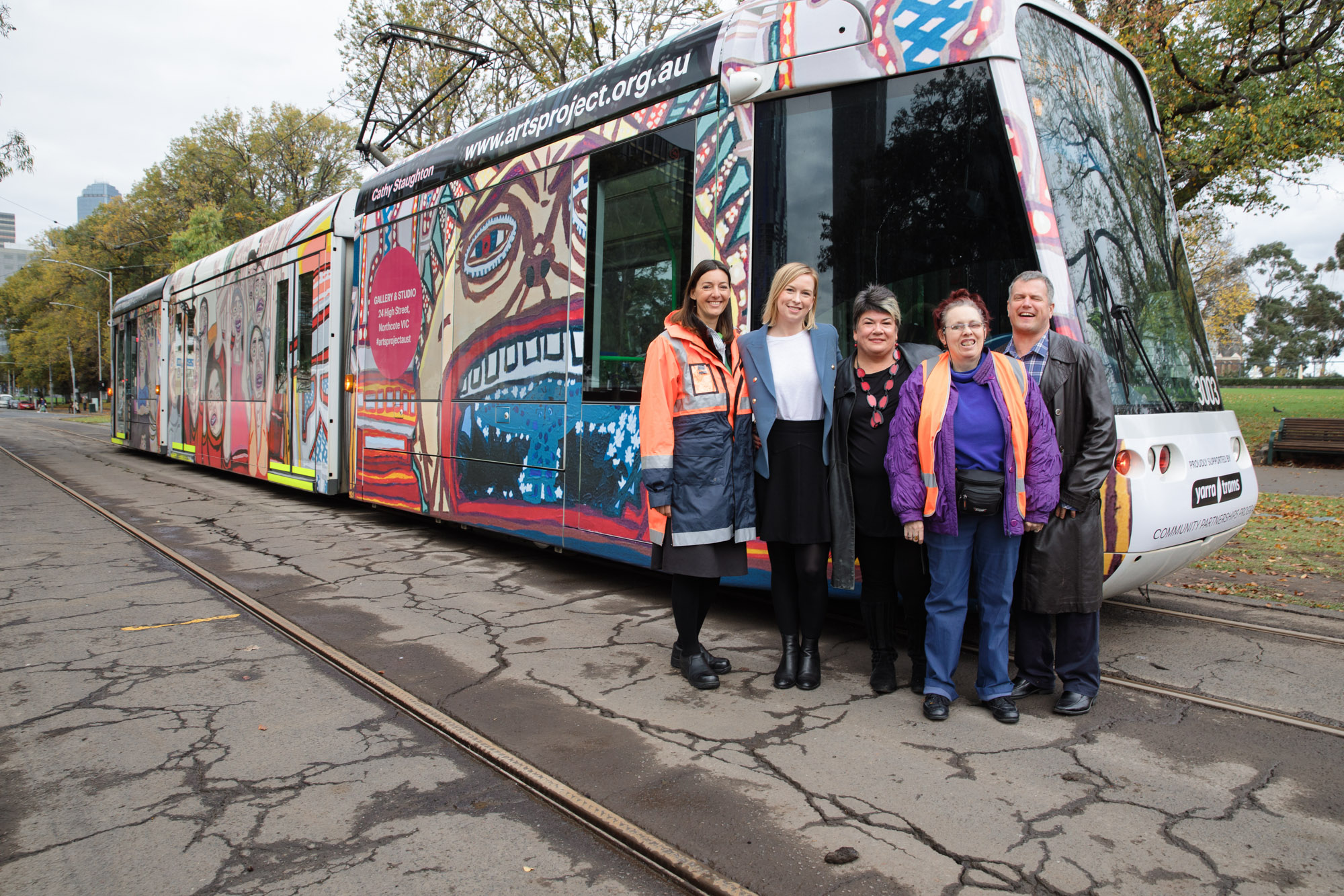 Yarra tram featuring artwork by Arts Project Australia artists Cathy Staughton and Warren O'Brien.