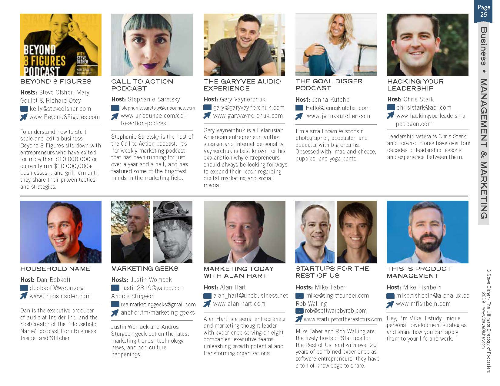 Marketing Geeks listed in the Ultimate Directory of Podcasters by New Media Summit and Steve Olsher