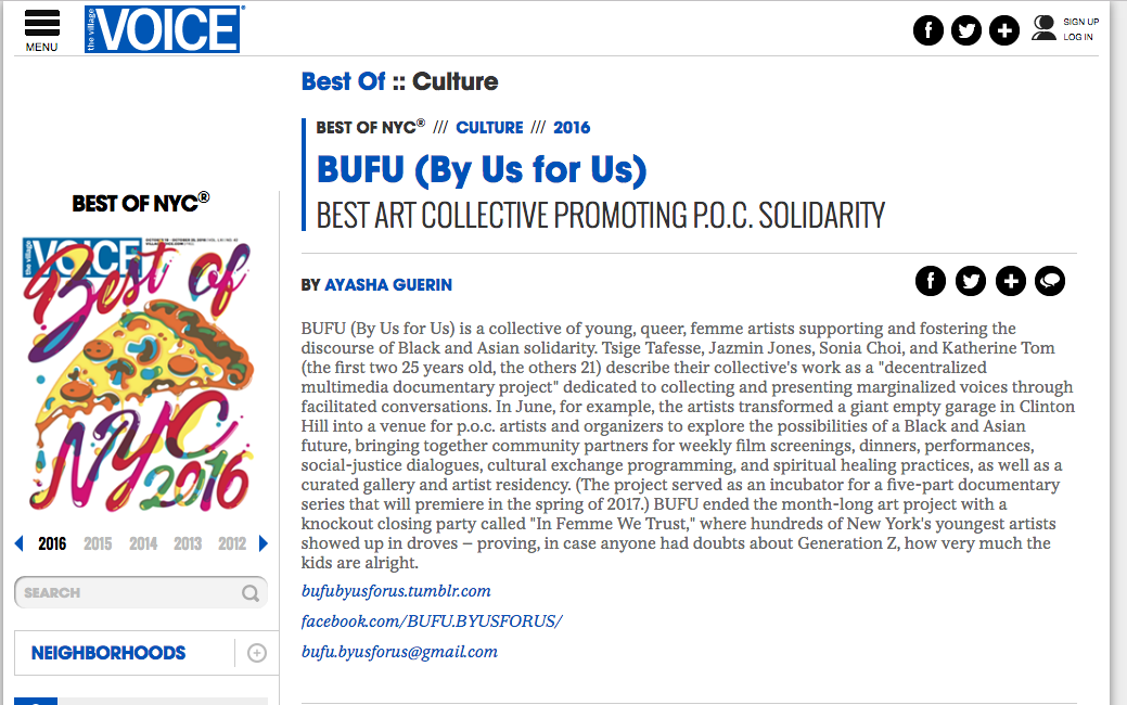 """""""  BUFU (By Us for Us): Best Art Collective Promoting P.O.C. Solidarity""""by Ayasha Gueri  n on Village Voice"""