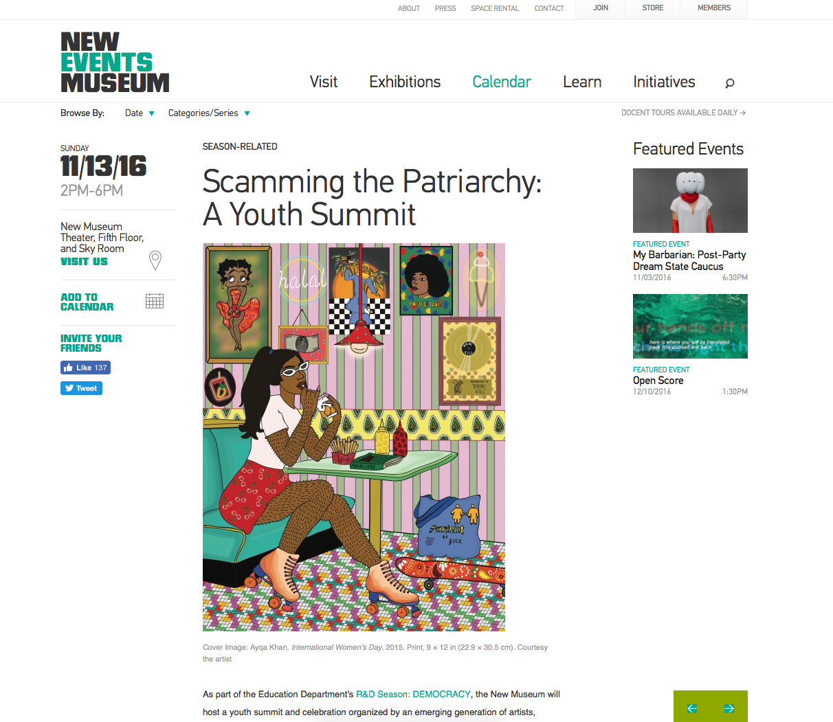 "New Museum Press Release on ""Scamming the Patriarchy: A Youth Summit"" a collaborative curation with the New Museum along with House of LaDosha, Discwoman, and Brujas"