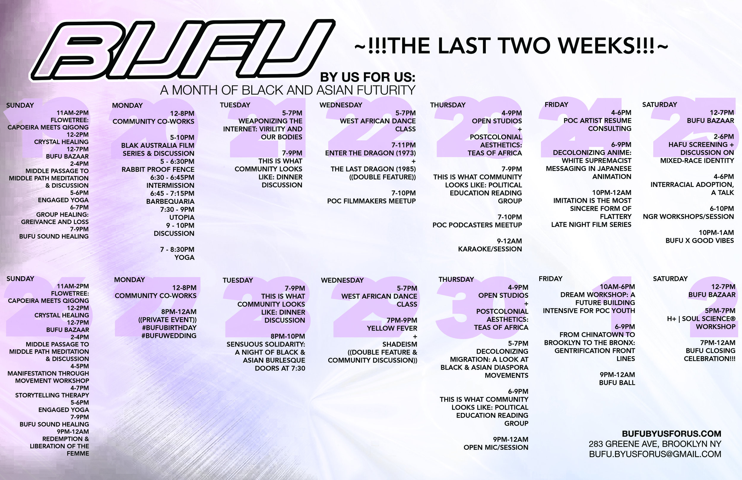 Calendar of our last 2 weeks