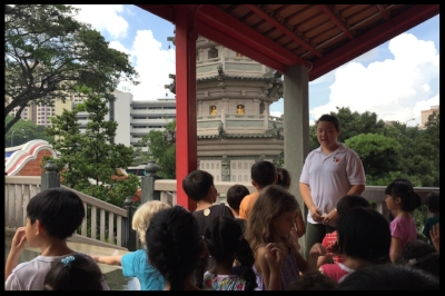 Ding Lao Shi explained to the children that the Pagoda has 7 Levels, and has eight sides. There are bells on the different levels which will chime when the wind blows.