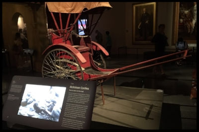 The children learnt about the rickshaw, a form of transport used in Singapore in the past.
