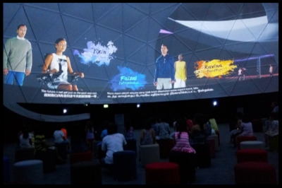 The children stepped into a room called the Theatre of Generations. With a spectacular 360 degree dome projection, the children were thrilled to watch a short film about the dreams of a bright future for Singapore. The story was presented in a reverse time-lapse between 1965 and 2030.