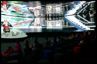 Using massive LED screens, the children were immersed in the experience of seeing the countless possibilities of tomorrow.