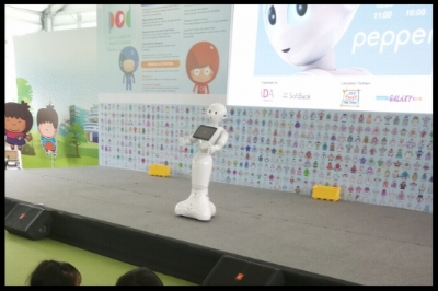 The children were delighted to be introduced to the robot named Pepper. Along with a few children from another preschool, they sang and danced with Pepper.