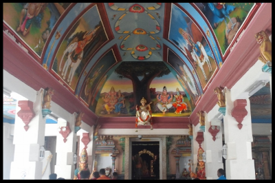 The main hall has elaborate ceiling paintings and contains the central shrine of Sri Mariamman. She is associated with the life-giving properties of rain (In Tamil, '  maari  ' means rain, and '  amman  ', mother).