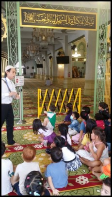 Mr Iskandar shared with everyone that green, yellow and gold are used in the mosque as they are considered royal colours by the Sultan of Johor who commissioned the building of the mosque.