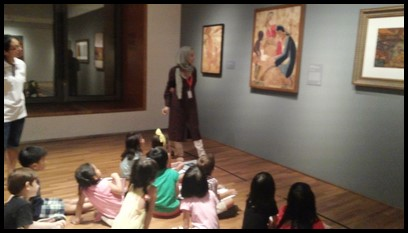 "Ms. Rama asked the children about the images that they see in the painting. She also showed them how the artist used ""batik"" as one of the patterns used in his painting."