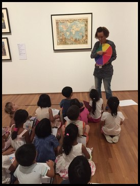 Ms. Nora explained the usage of colours in paintings. She asked the children about how they felt when they see a particular colour. Then she shared about how some artists use bright colours to elicit feelings of happiness or comfort while dark colours are used to convey sadness or despair.