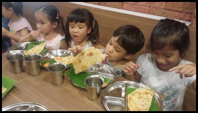 After the walk, everyone proceeded to Woodlands Madras restaurant to complete the Deepavali experience. The children savoured every bite of their prata.