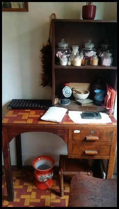 The room of a physician. An abacus was used to make calculations.